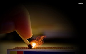 lighting a match